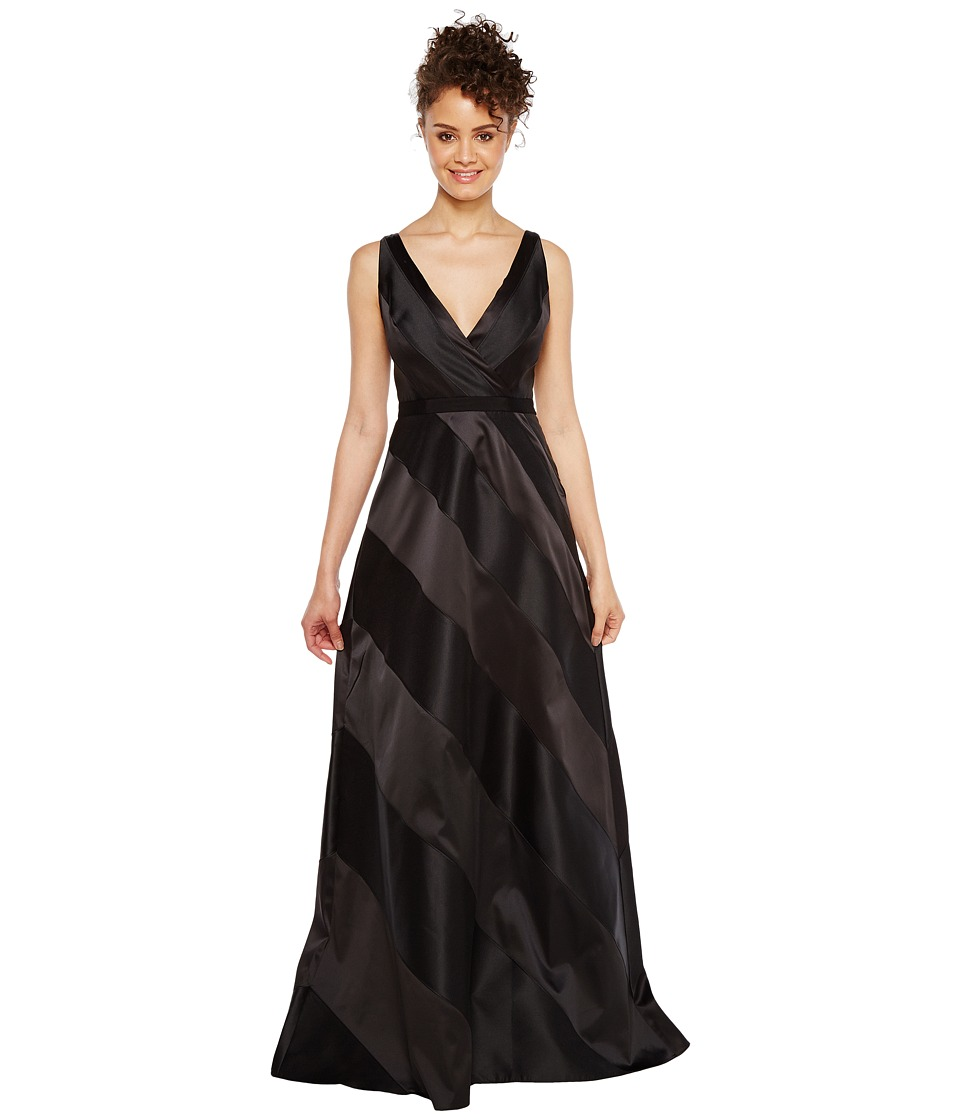 Adrianna Papell - Fabric Combo Ball Gown (Black) Women's Dress
