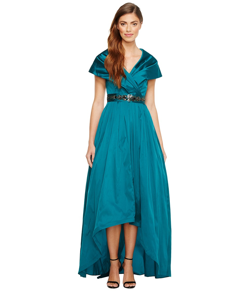 Adrianna Papell - Silky Taffeta Shawl Gown (Emerald Green) Women's Dress