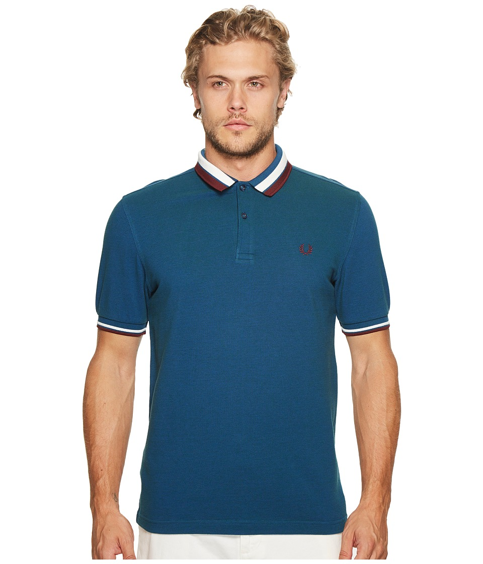 Fred Perry - Bold Tipped Pique Shirt (Regal Blue) Men's Clothing
