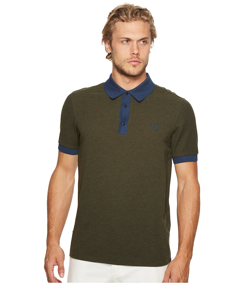 Fred Perry - Wool Blend Pique Shirt (Dark Fern Marl) Men's Clothing