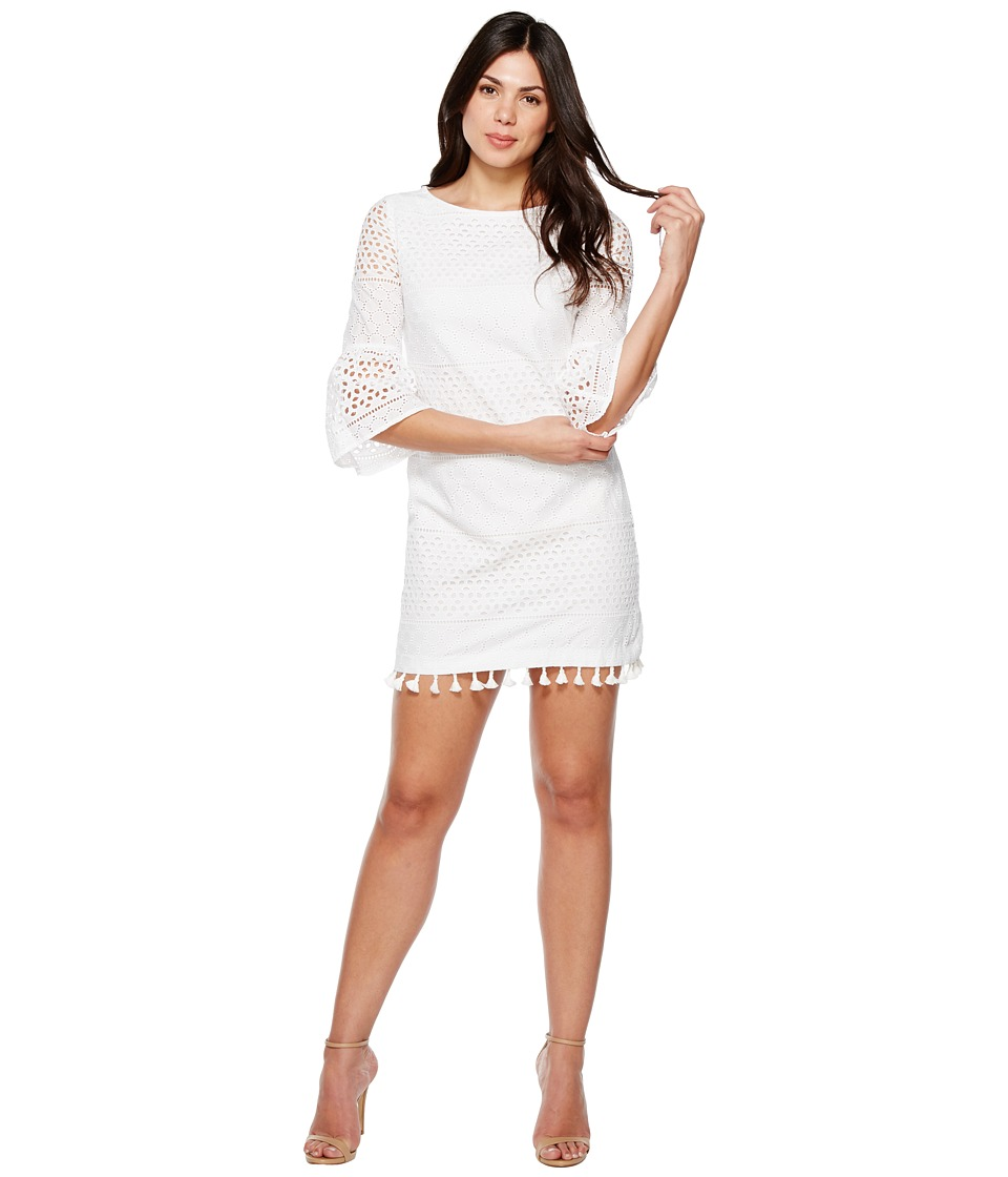 Vince Camuto - Eyelet Bell Sleeve Shift Dress (Ivory) Women's Dress