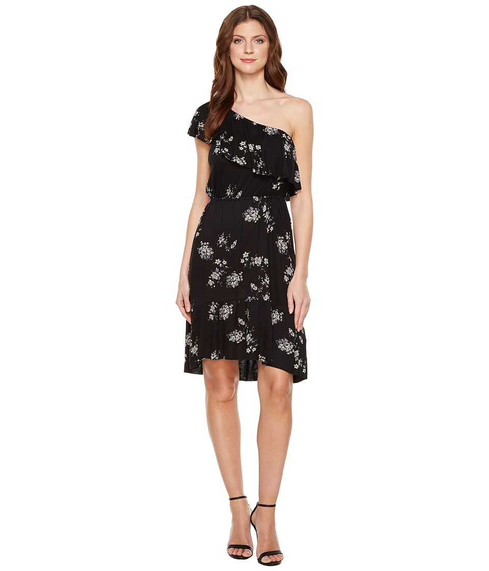 Lucky Brand - Botanical Ruffle Dress (Black Multi) Women's Dress