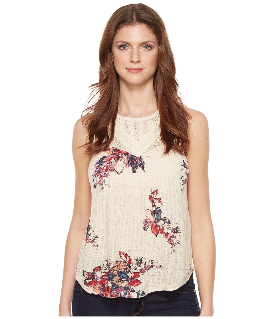 Lucky Brand - Floral Print Mixed Lace Yoke Tank Top (Natural Multi) Women's Sleeveless