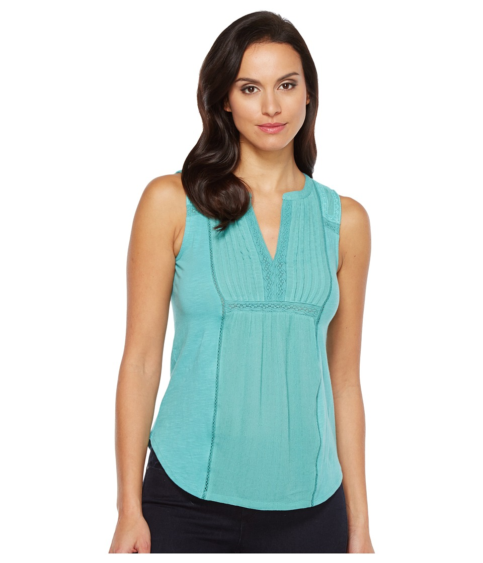 Lucky Brand - Embroidered Pintuck Tank Top (Bristol Blue) Women's Sleeveless