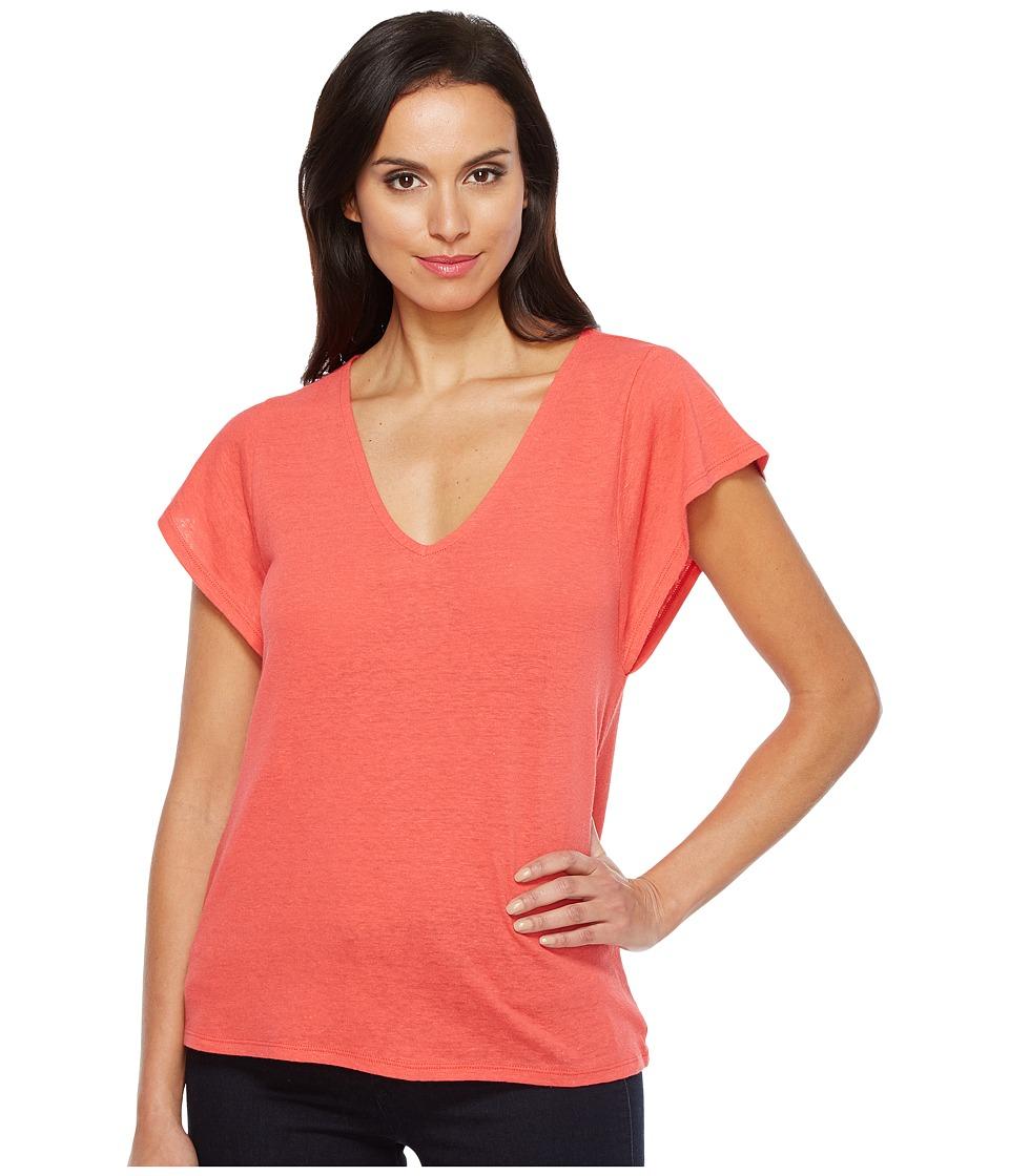 Lucky Brand - V-Neck Tee (Hibiscus) Women's T Shirt