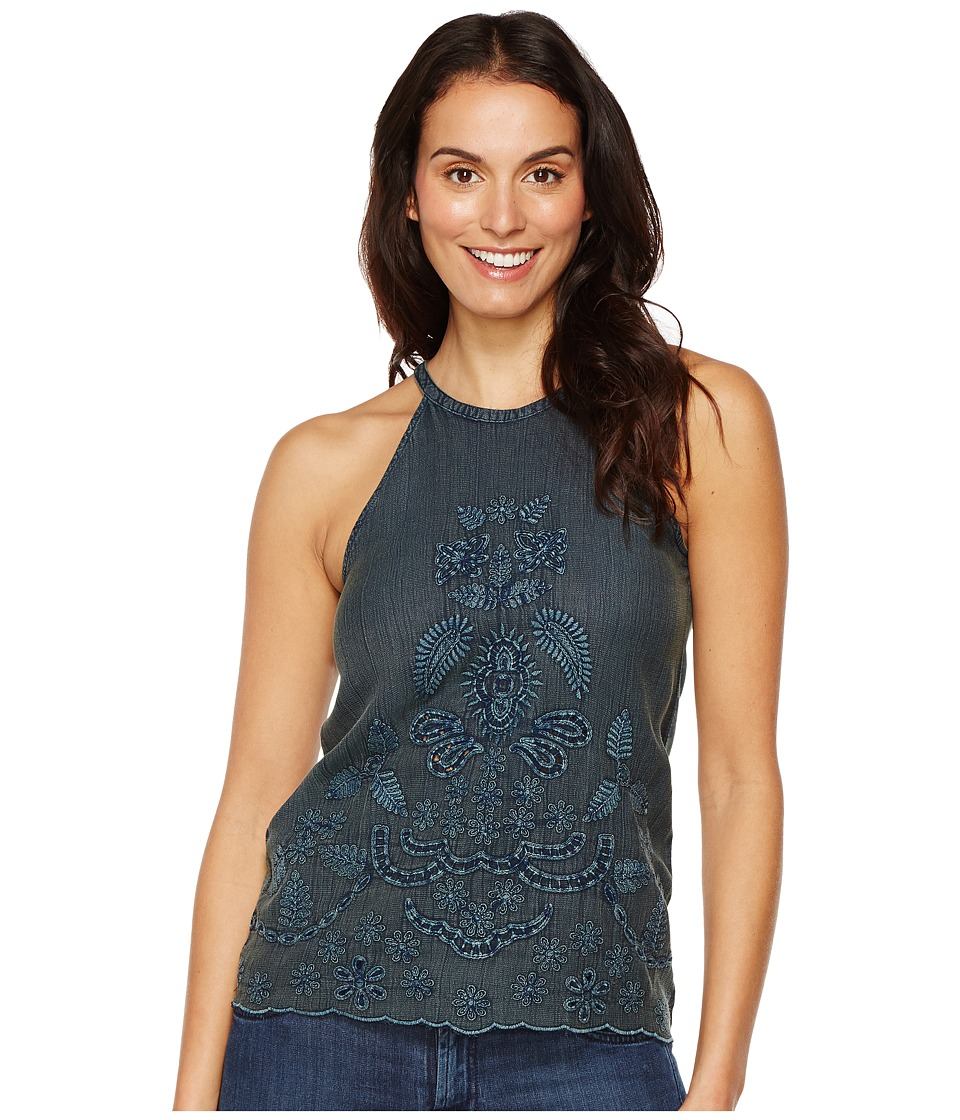 Lucky Brand - Embroidered Cut Out Top (Blue Teal) Women's Clothing