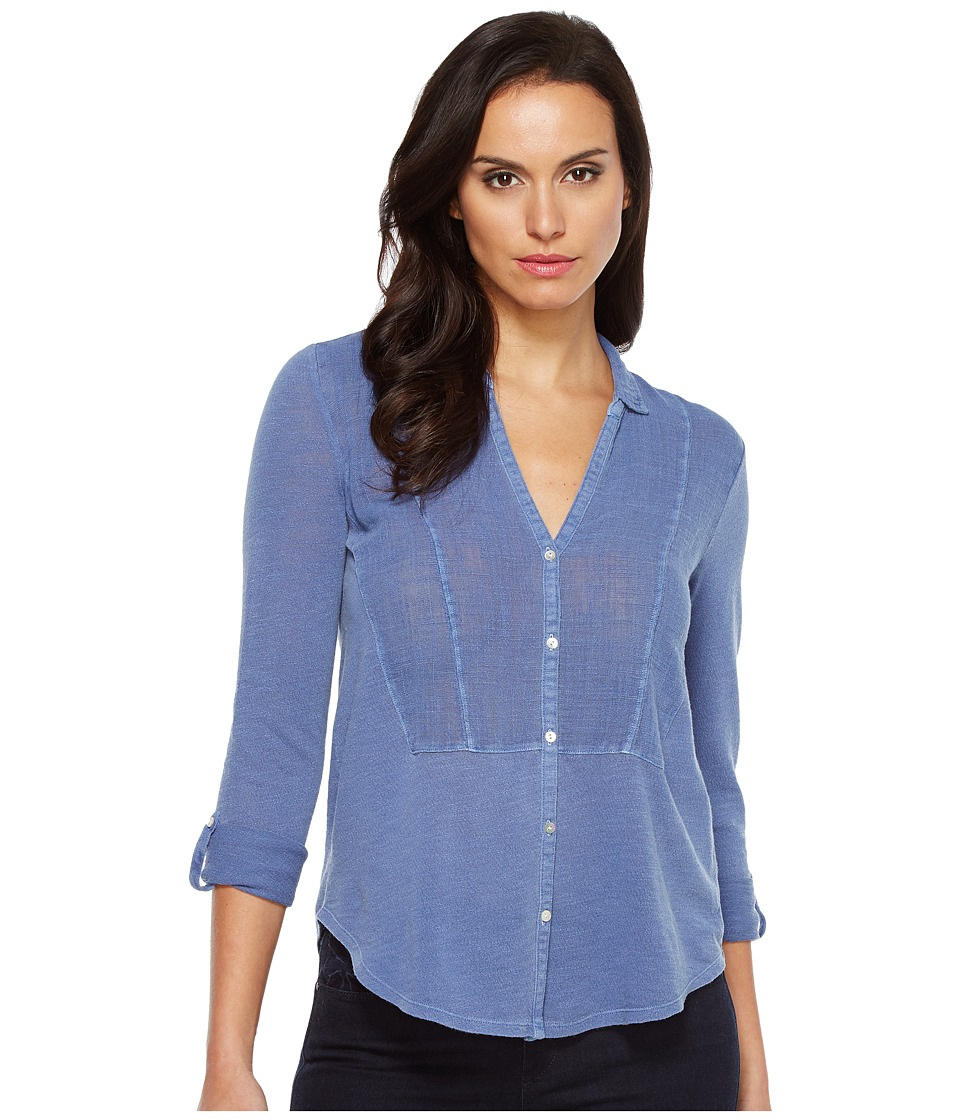 Lucky Brand - Woven Gauze Mixed Top (Coastal Fjord) Women's Long Sleeve Button Up