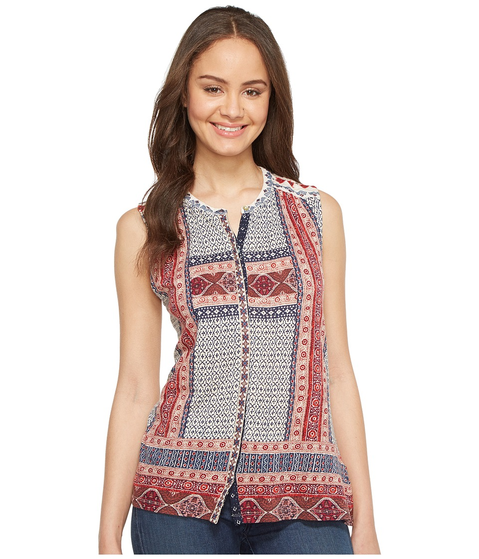 Lucky Brand - Border Print Button Up Shell (Red Multi) Women's Sleeveless