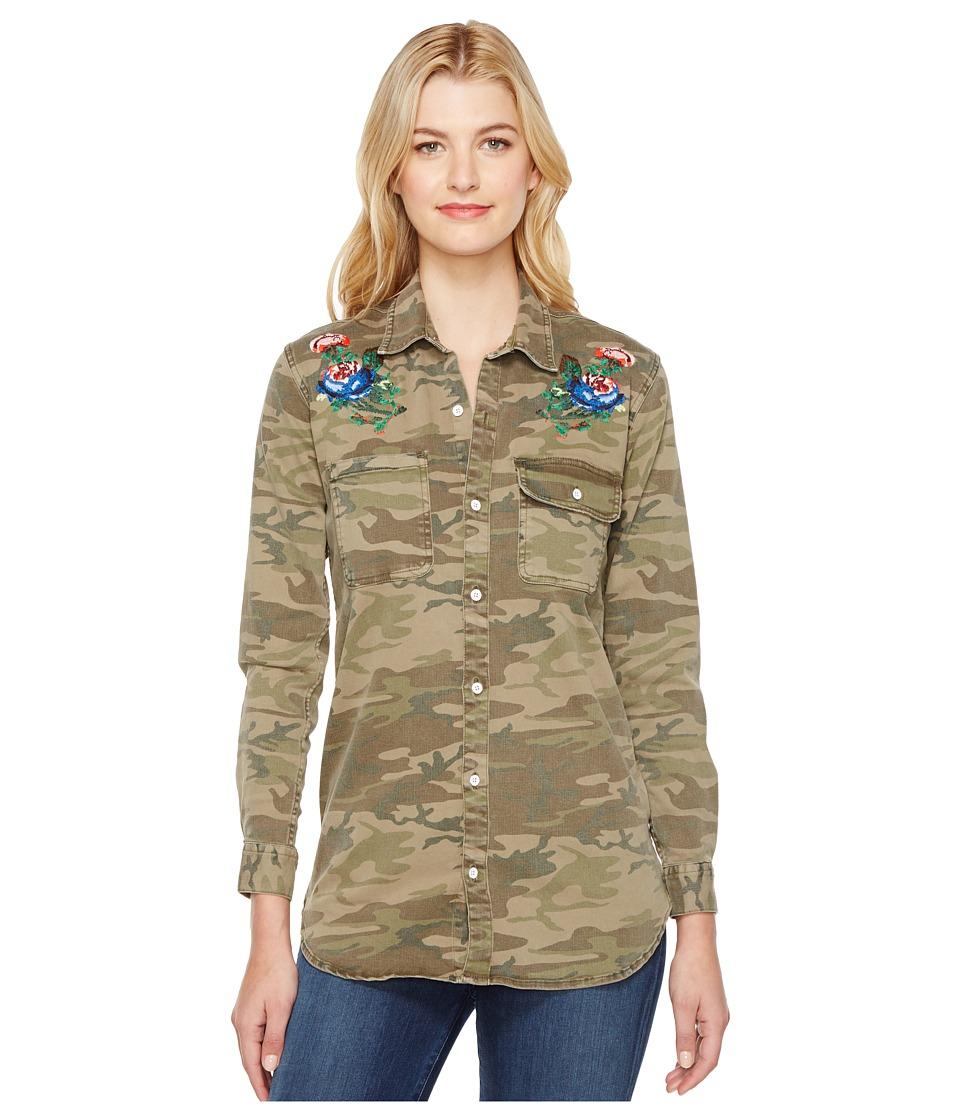 Lucky Brand - Boyfriend Shirt (Jagged Camo/Embroidery) Women's Long Sleeve Button Up