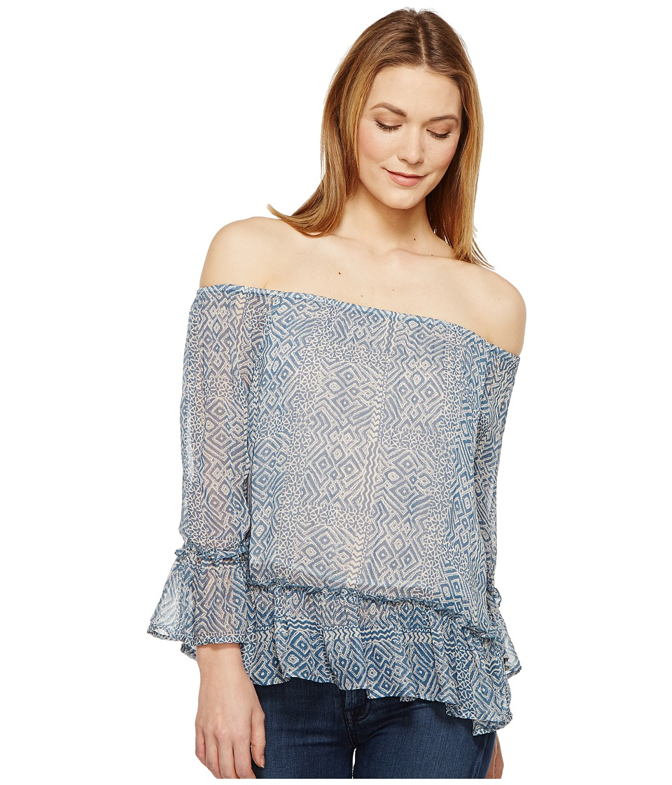 Lucky Brand - Maze Off the Shoulder Top (Blue Multi) Women's Long Sleeve Pullover