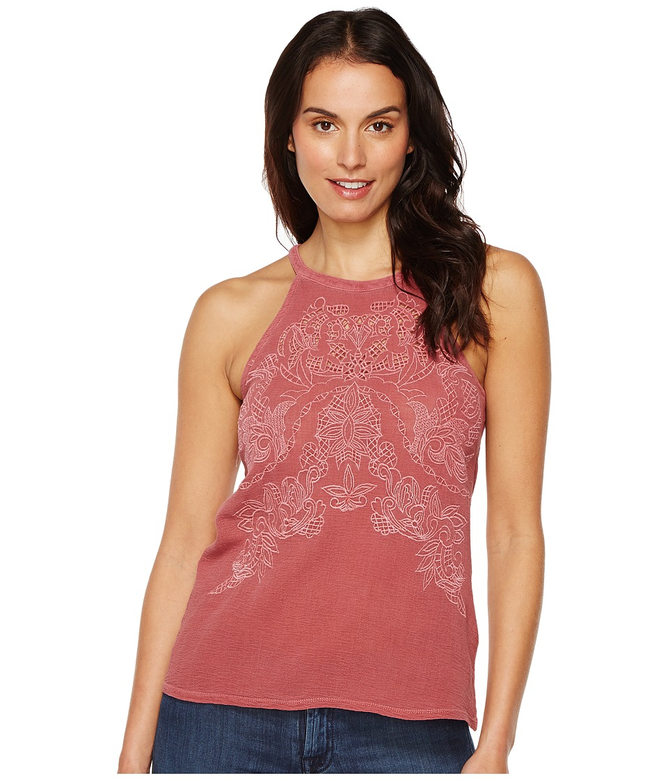 Lucky Brand - Embroidered Cut Out Top (Washed Red) Women's Clothing