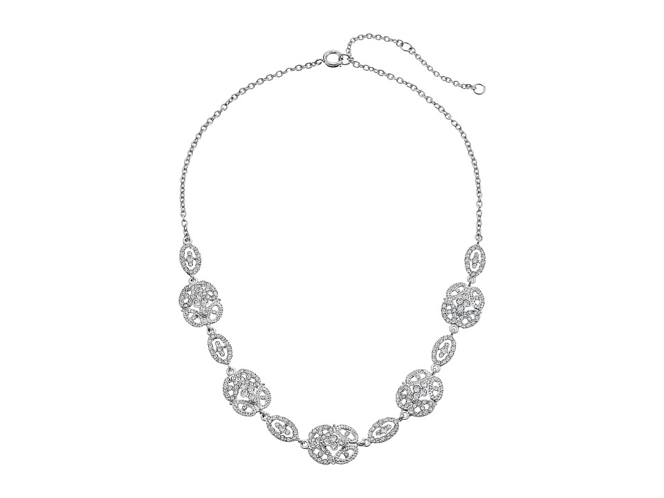 Nina - N-Ayda Vintage Style Oave Oval Cluster Necklace (Rhodium/White) Necklace