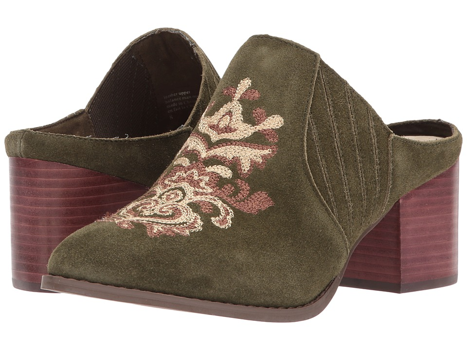 Seychelles Dialogue (Olive Suede w/ Embroidery) Women
