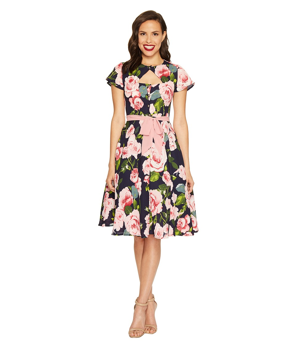 Unique Vintage - Ashcroft Short Sleeve Swing Dress (Navy & Pink Floral) Women's Dress