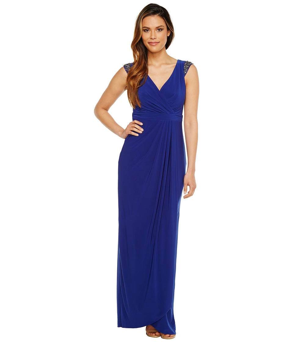 Adrianna Papell - Wrap Front Jersey Gown (Neptune) Women's Dress