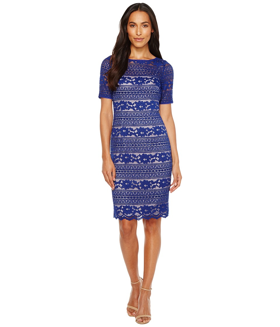 Adrianna Papell Corded Stripe Lace Dress (Neptune) Women