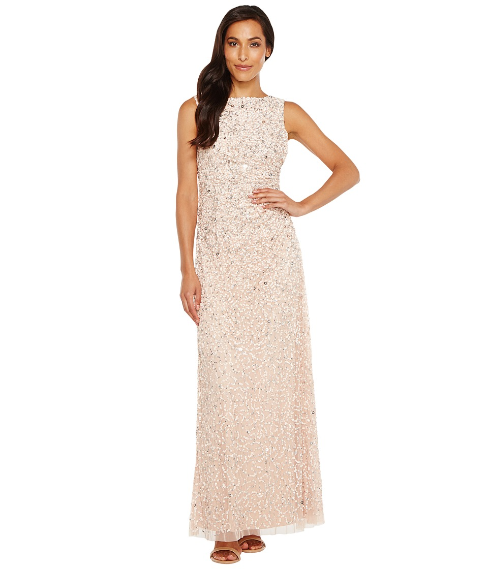 Adrianna Papell - Cowl Drape Crunchy Bead Gown (Blush) Women's Dress