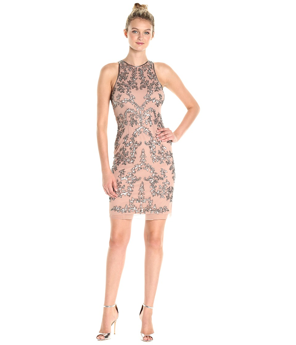 Adrianna Papell Short Halter Fully Beaded Dress