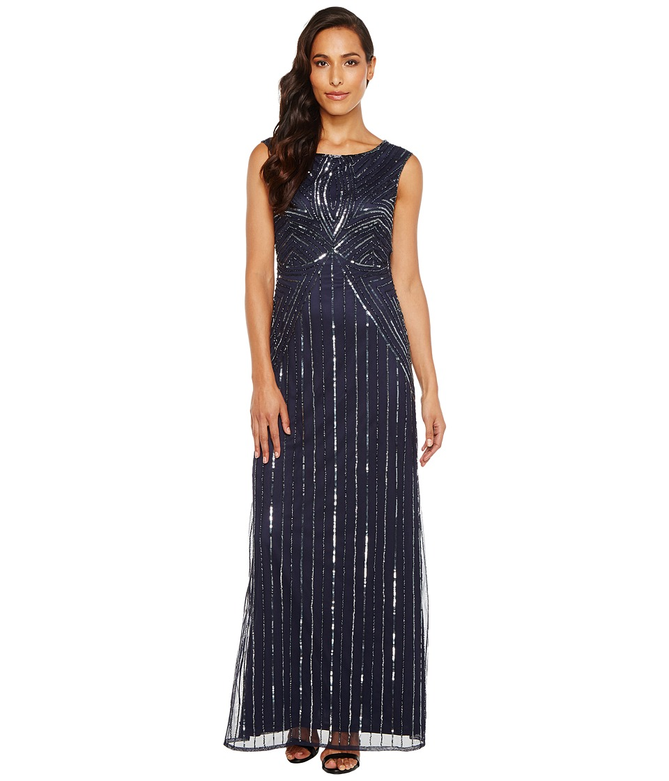Adrianna Papell - Extended Cap Sleeve Swirl Bead Gown (Navy) Women's Dress