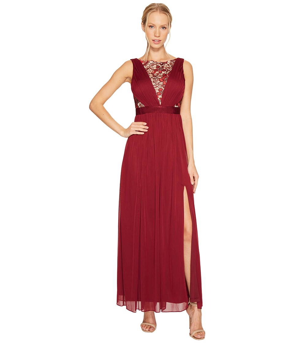 Adrianna Papell - Sequin Lace Sleeveless Tulle Gown (Black Cherry) Women's Dress