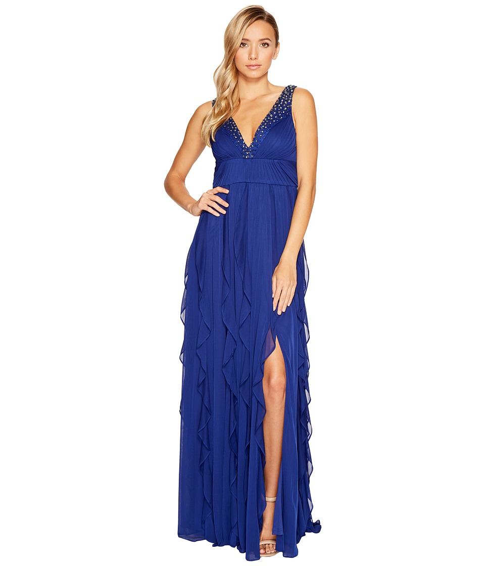 Adrianna Papell Shirred Stretch Tulle Gown Blue Sapphire Dress