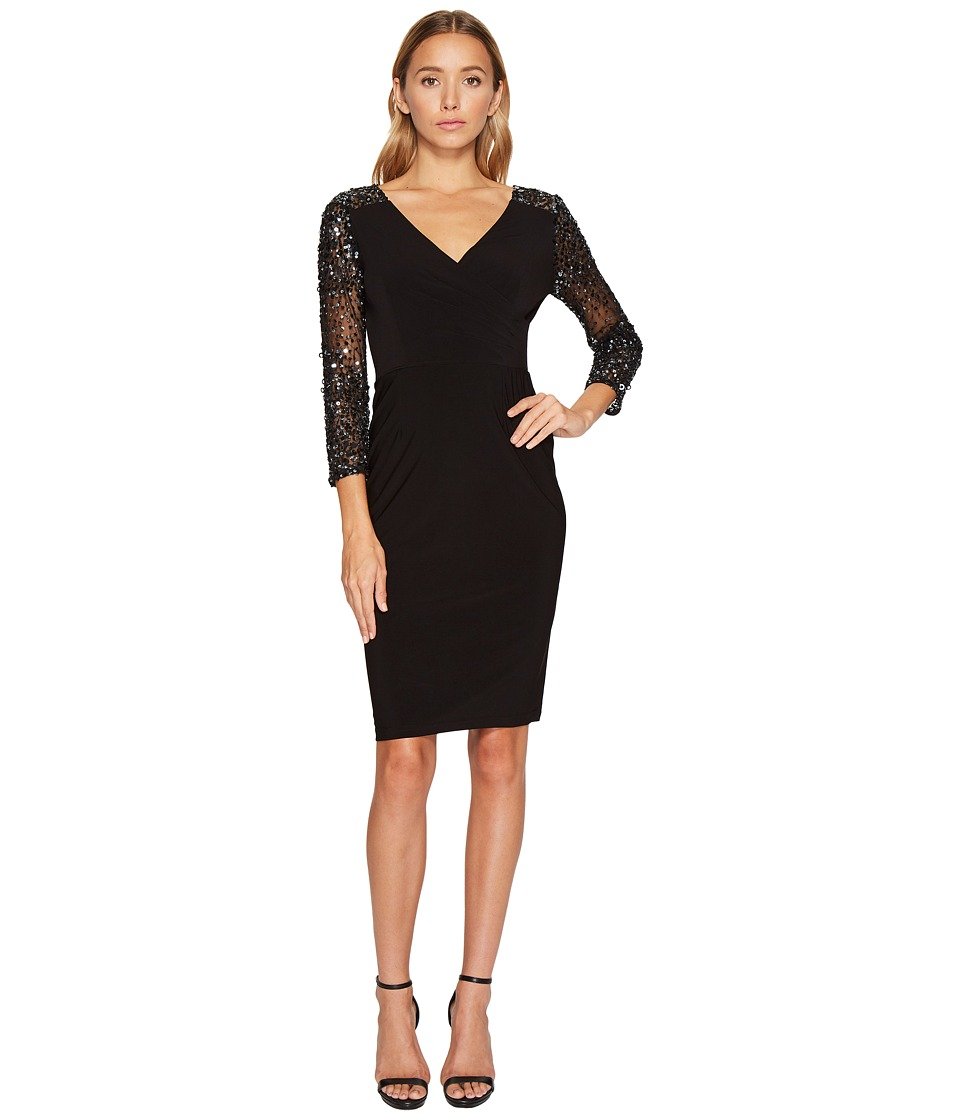 Adrianna Papell - Stretch Knit Beaded Cocktail Dress (Black) Women's Dress