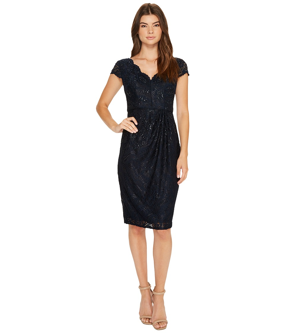 Adrianna Papell - Stretch Lace Scallop Short Dress (Ink) Women's Dress
