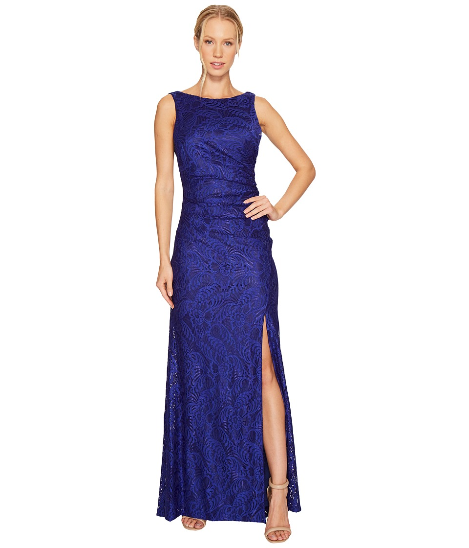 Adrianna Papell - Stretch Lace Cowl Back Gown (Neptune) Women's Dress