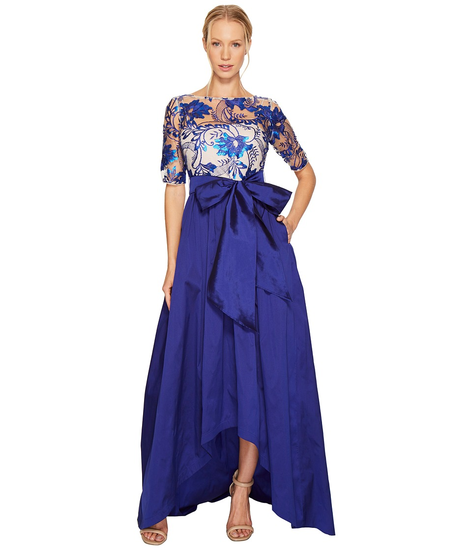 Adrianna Papell Floral Flutter Sequin Embellished Gown (Royal/Nude) Women
