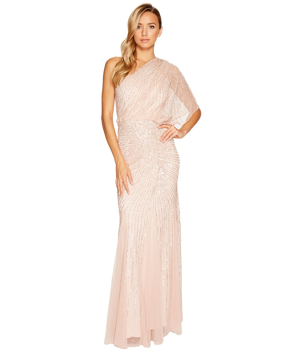 Adrianna Papell - One Shoulder Beaded Blouson Gown (Blush) Women's Dress