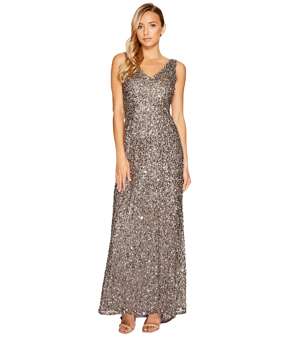 Adrianna Papell V-Neck Crunchy Bead Gown Lead Dress
