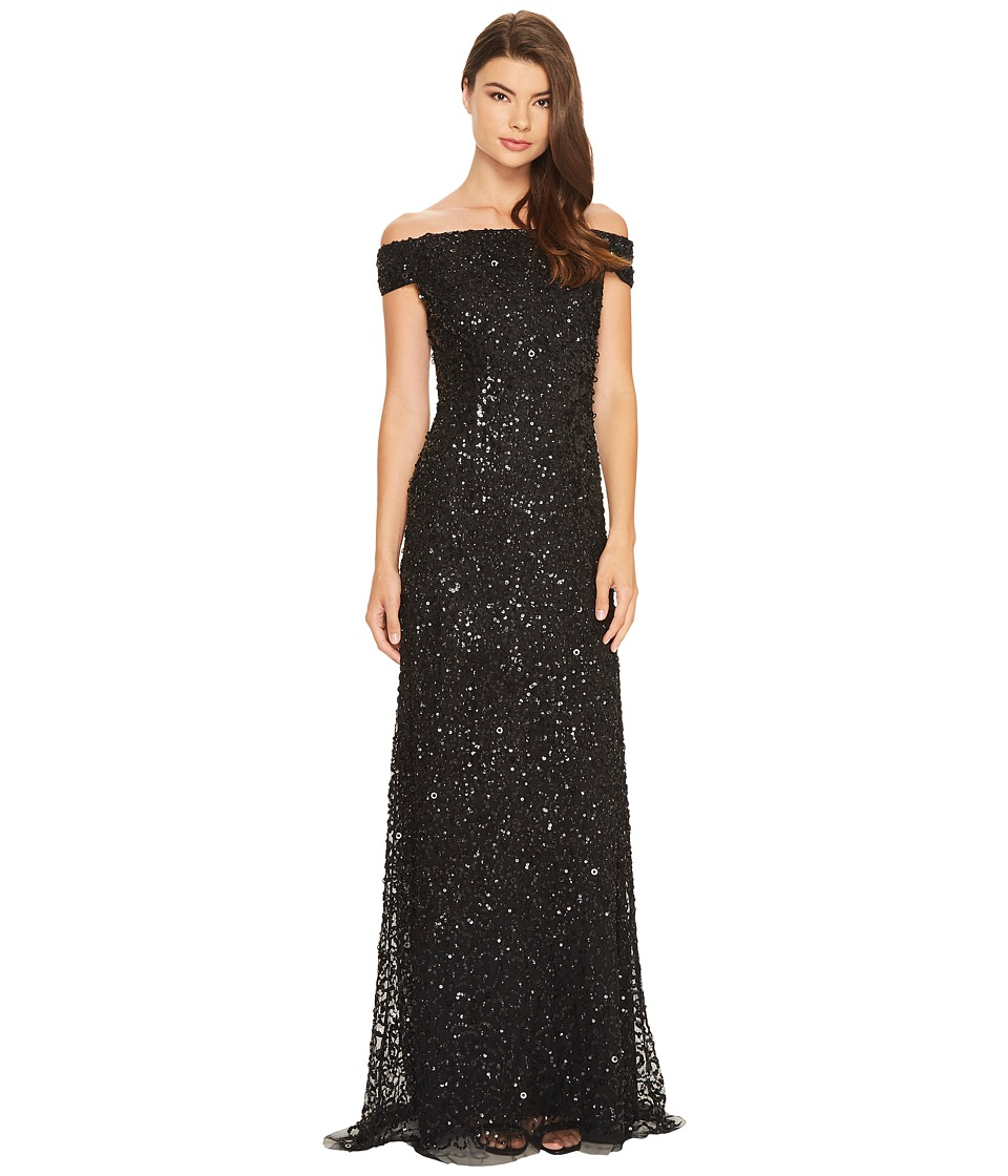 Adrianna Papell - Off the Shoulder Crunchy Bead Gown (Black) Women's Dress