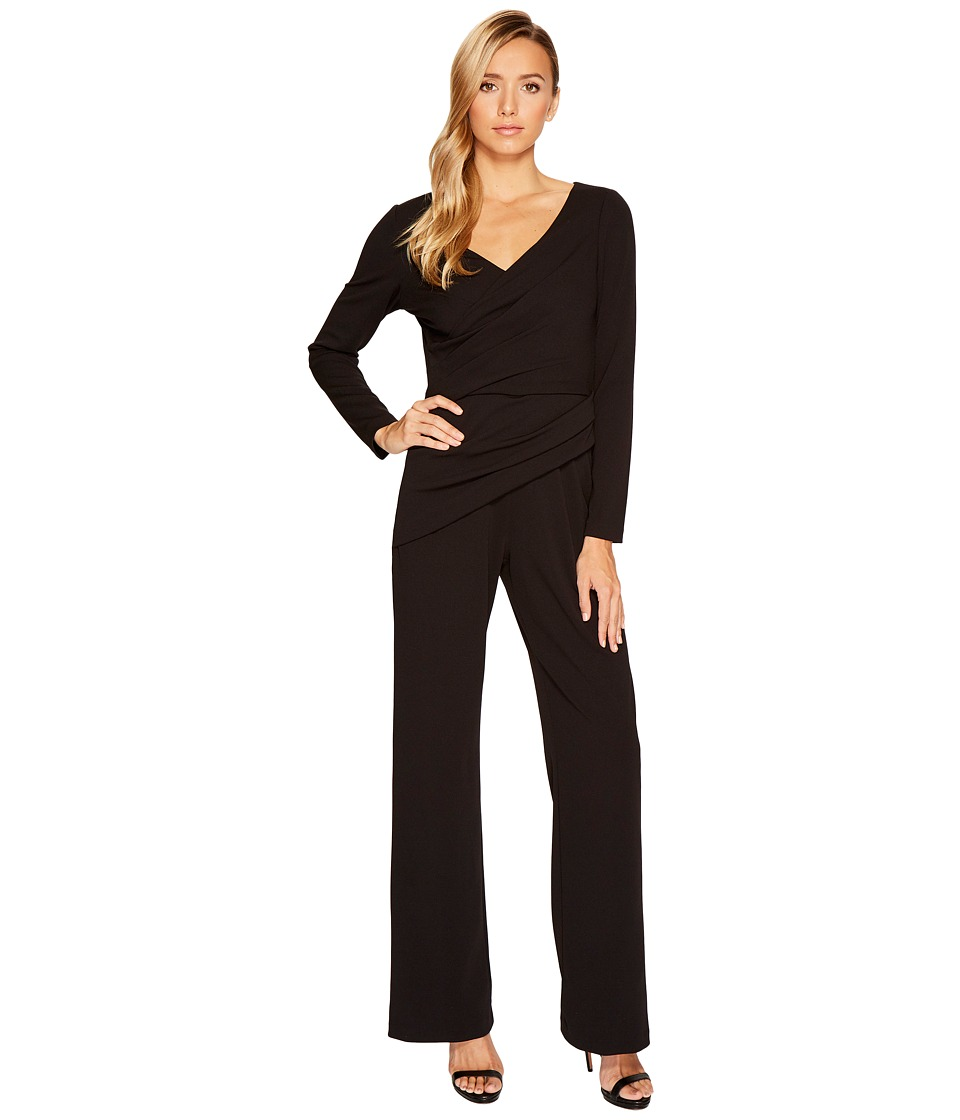 Adrianna Papell - Long Sleeve Crepe Knit V-Neck Jumpsuit (Black) Women's Jumpsuit & Rompers One Piece