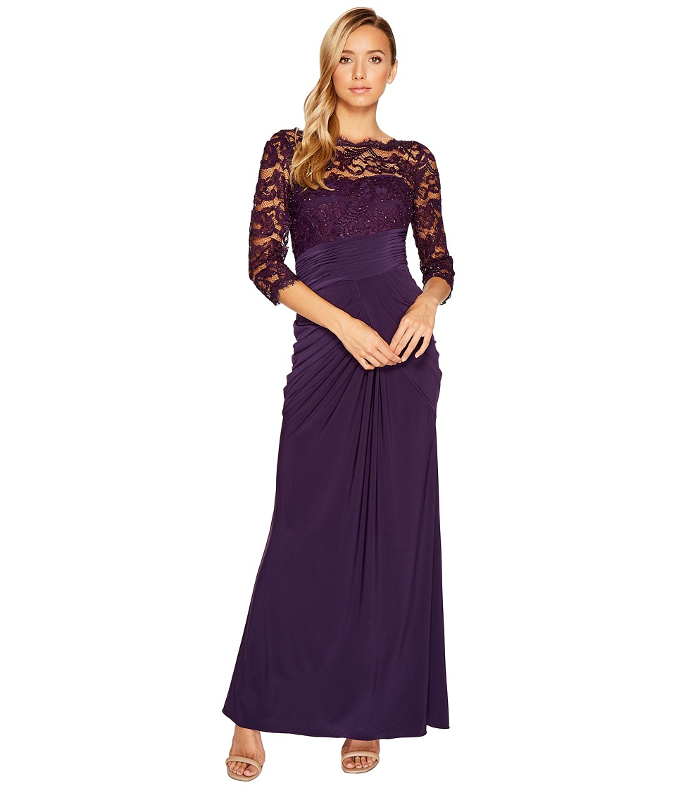 Adrianna Papell Lace and Draped Jersey Gown Aubergine Dress