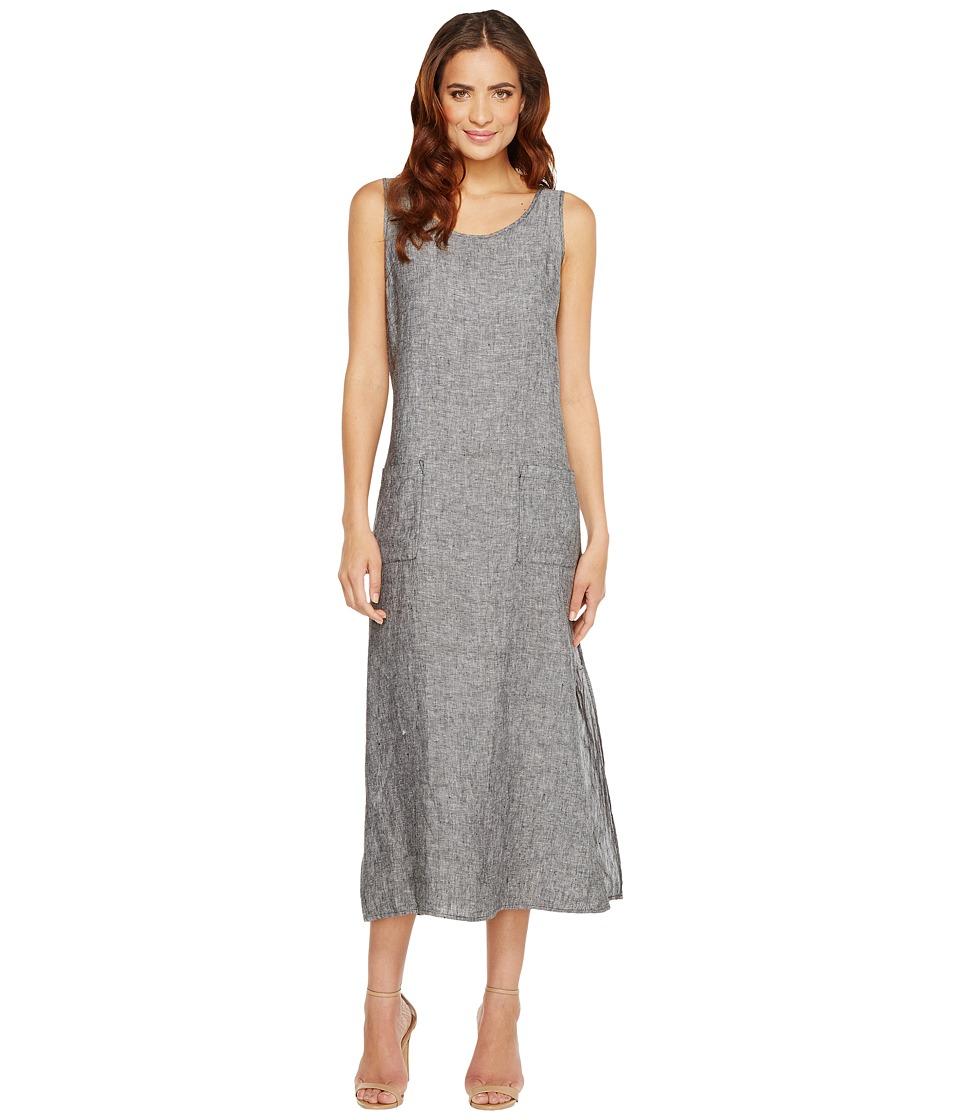 TWO by Vince Camuto Cross-Dye Linen Side Slit Tank Dress (Rich Black) Women