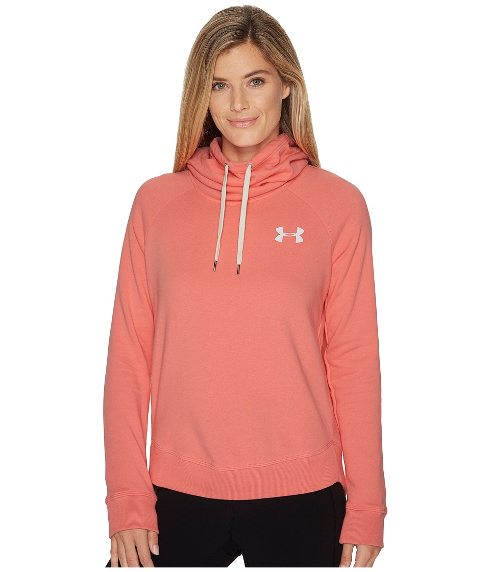Under Armour Favorite Fleece Pullover Left Chest Hoodie (Cape Coral/White) Women