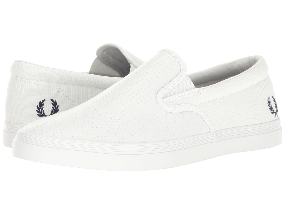Fred Perry - Underspin Slip-On Perf Leather (White/French Navy) Men's Shoes