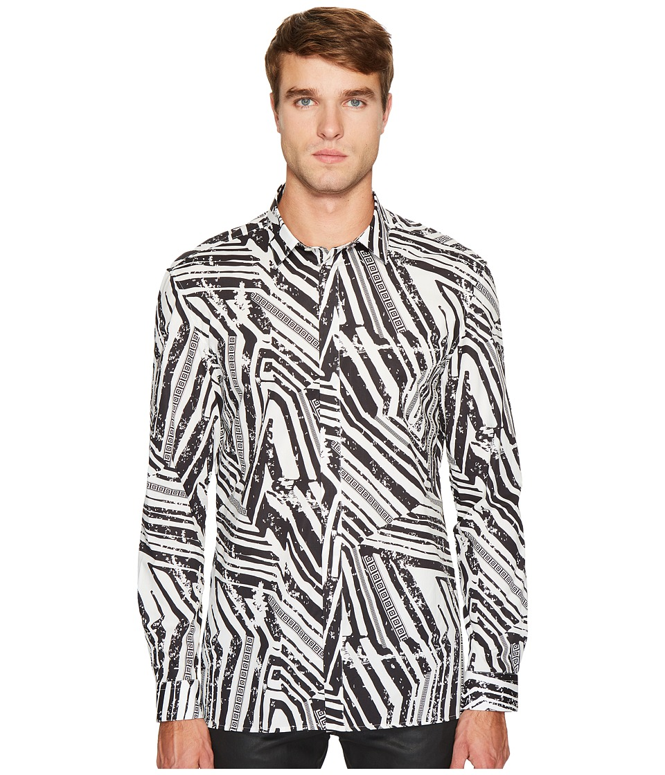 Versace Collection - Linear Print Button Down (Black/White) Men's Clothing