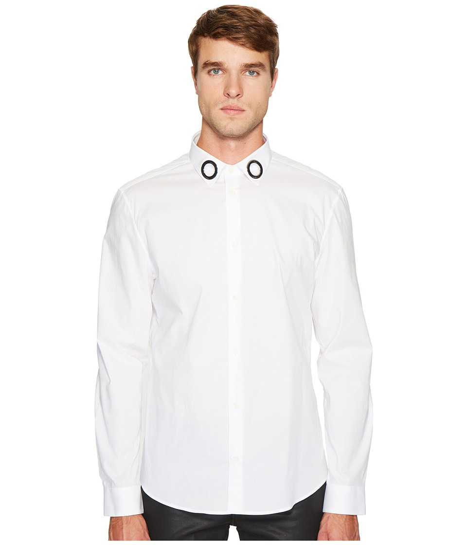 Versace Collection - Grommet Collar Button Down (White) Men's Clothing