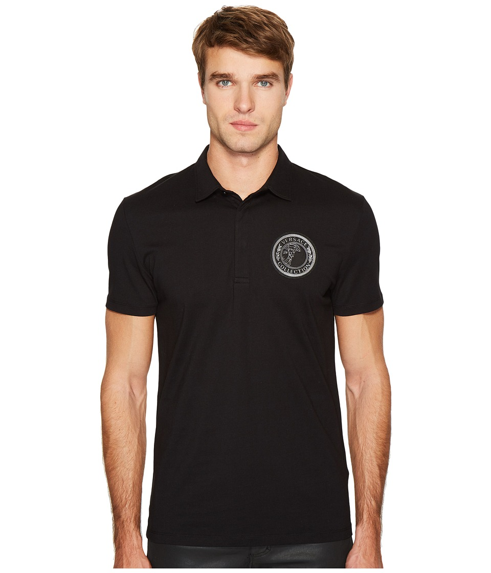 Versace Collection - Logo Applique Polo (Black) Men's Clothing