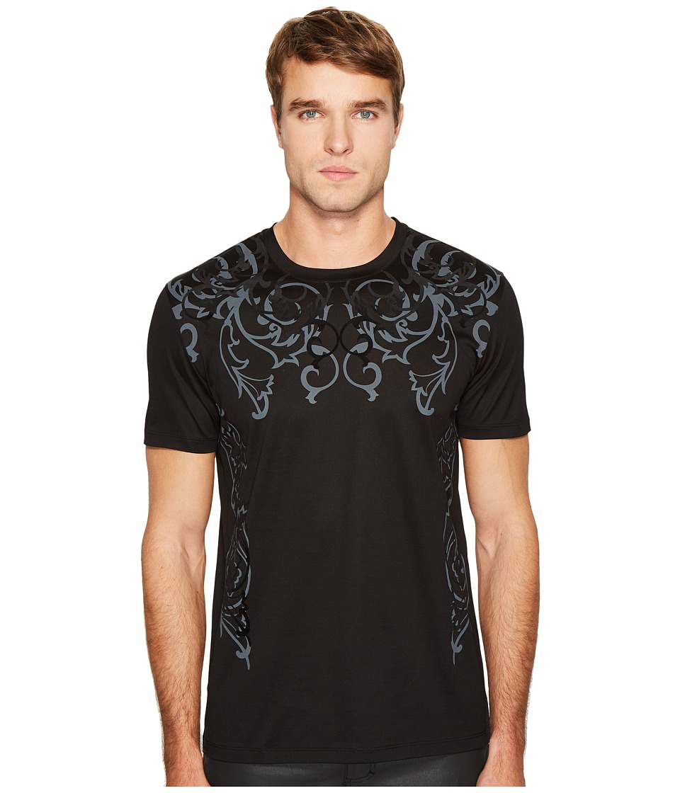 Versace Collection - Baroque Detail T-Shirt (Black/Black) Men's T Shirt