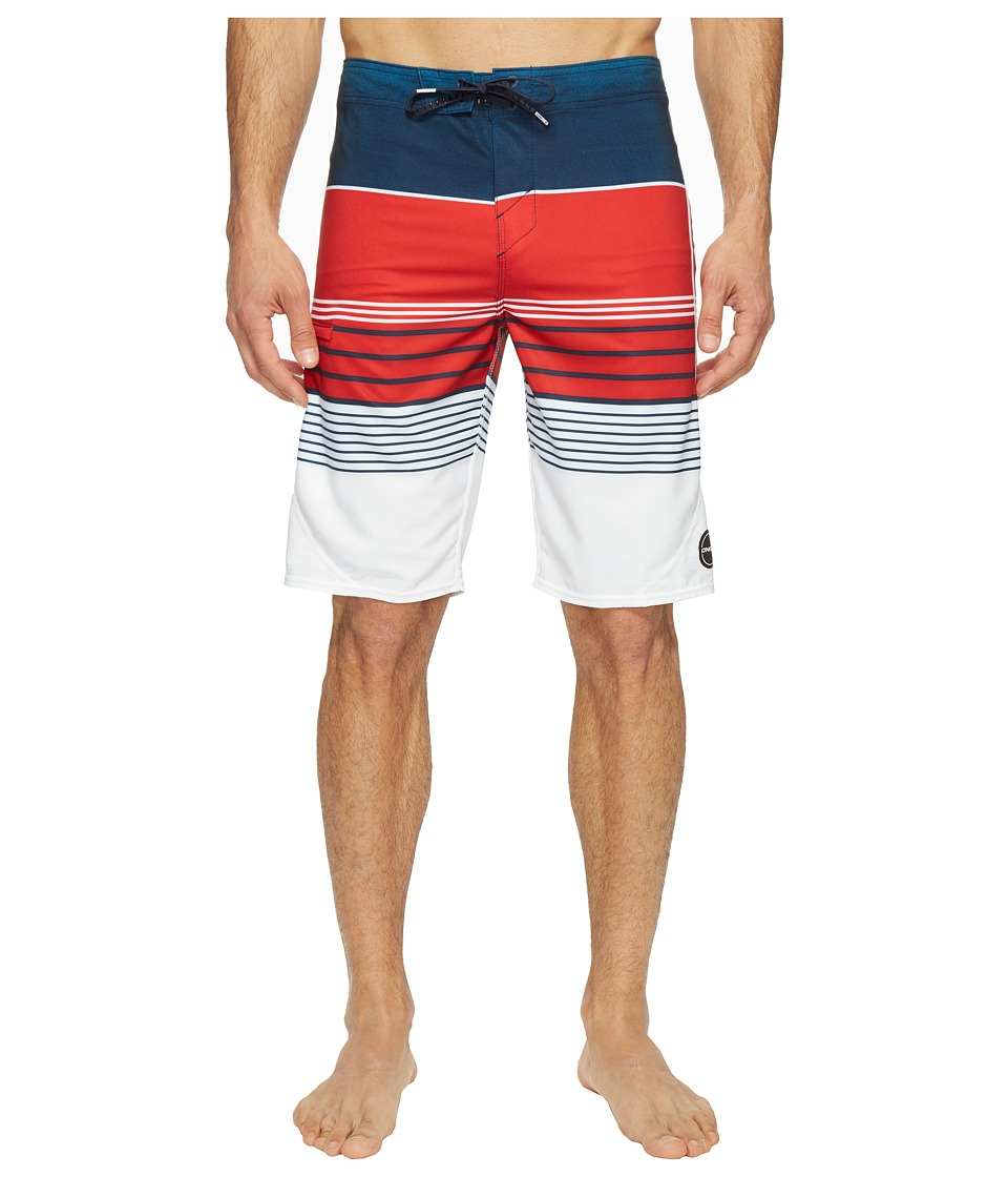 O'Neill - Hyperfreak Transfer S-Seam Superfreak Series Boardshorts (Red/White/Blue) Men's Swimwear