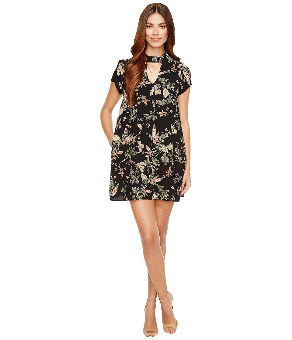 Brigitte Bailey - Averie Short Sleeve Floral Dress (Black) Women's Dress