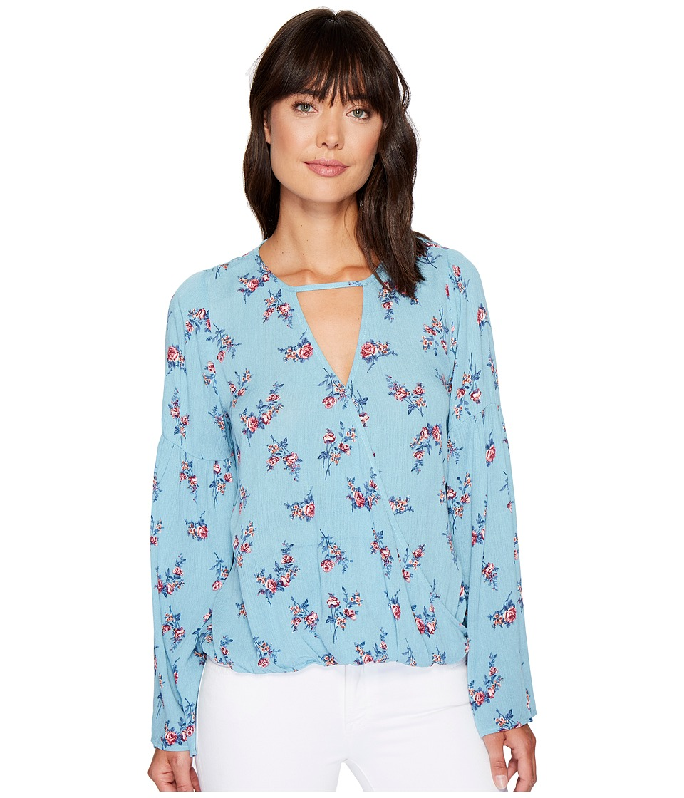 Brigitte Bailey - Alia Long Sleeve Wrap Top (Blue) Women's Clothing
