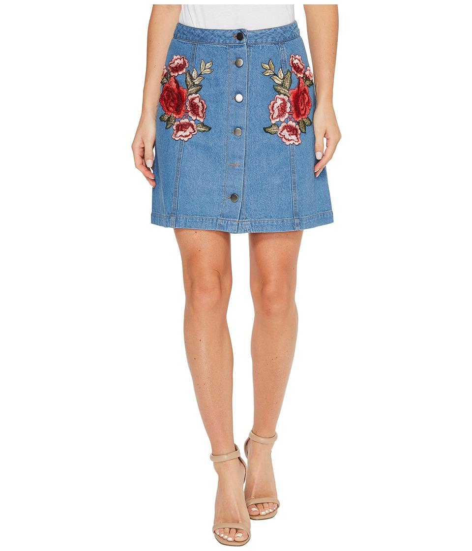 Brigitte Bailey Amilea Button Up Skirt with Patches (Denim) Women
