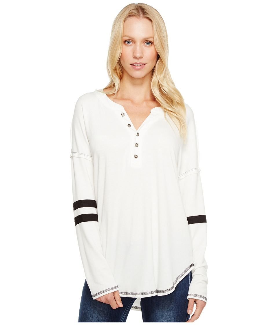 Culture Phit - Ashly Long Sleeve Striped Button Up Top (Ivory) Women's Long Sleeve Button Up