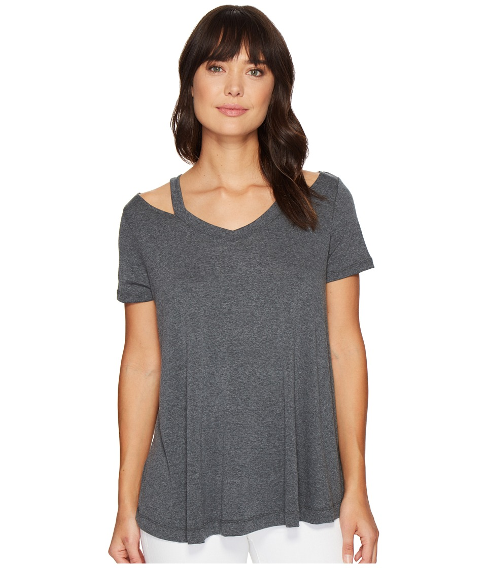 Culture Phit Lacey Short Sleeve Cut Out Top (Charcoal) Women
