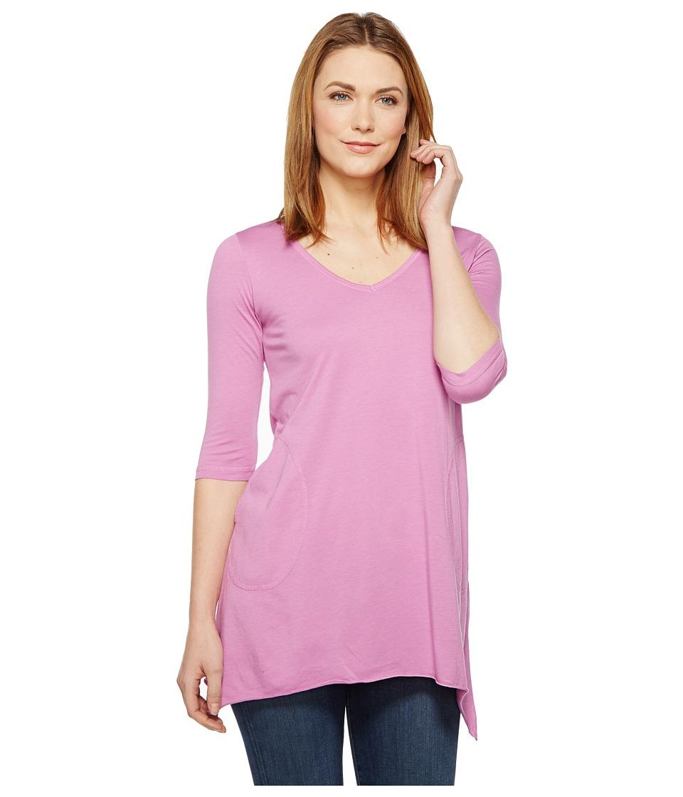Allen Allen - 3/4 Sleeve V-Angled Tunic (Posy) Women's Short Sleeve Pullover