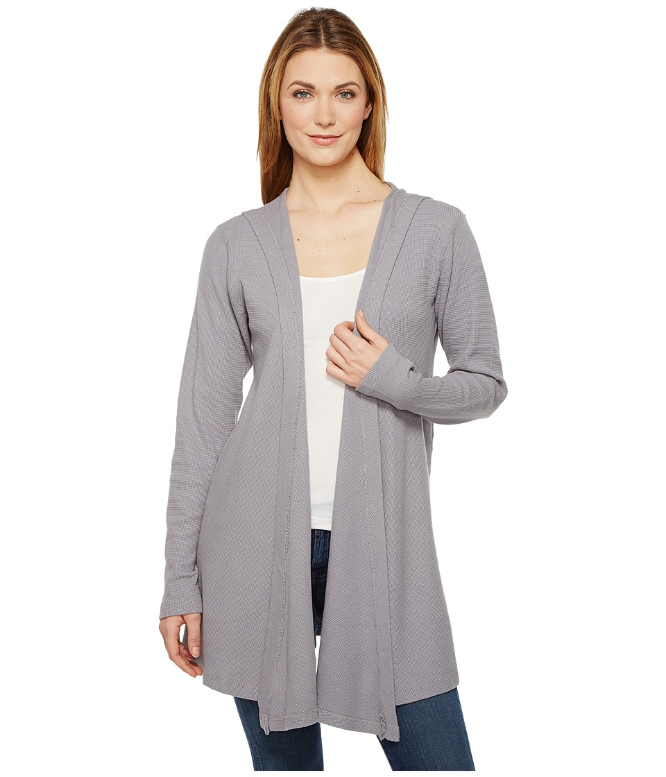 Allen Allen - Hooded Open Cardigan (Pale Grey) Women's Sweater
