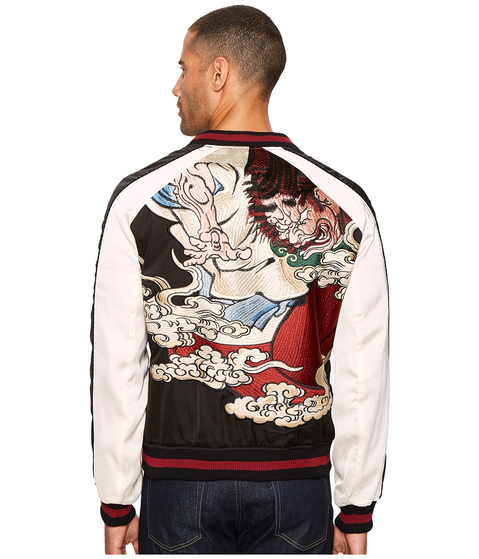 The Kooples - Twin Colour Embroidered Bomber Jacket (Black/White/Red) Men's Coat